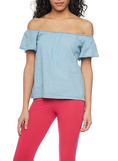Off The Shoulder Chambray Top,LIGHT WASH,large