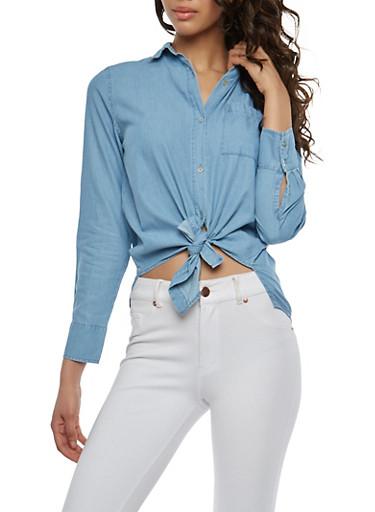Denim Tie Front Shirt,MEDIUM WASH,large