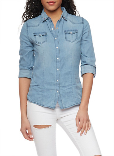 Denim Button Front Top with Tabbed Sleeves,MEDIUM WASH,large