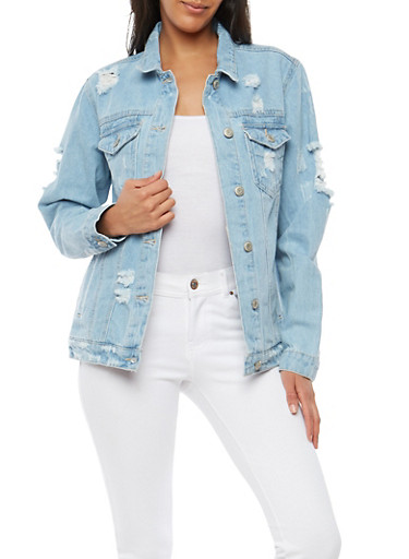 WAX Destroyed Denim Jacket,LIGHT WASH,large