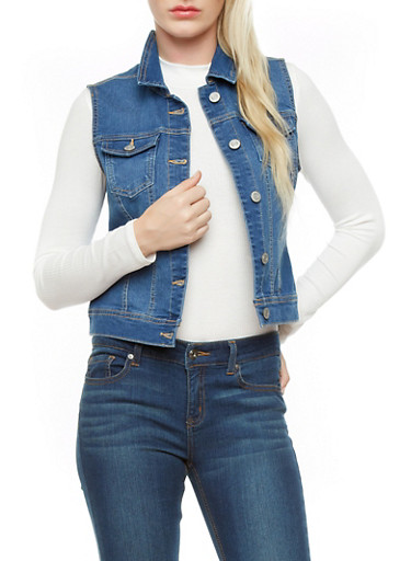 WAX Jeans Denim Vest with Contrast Stitching