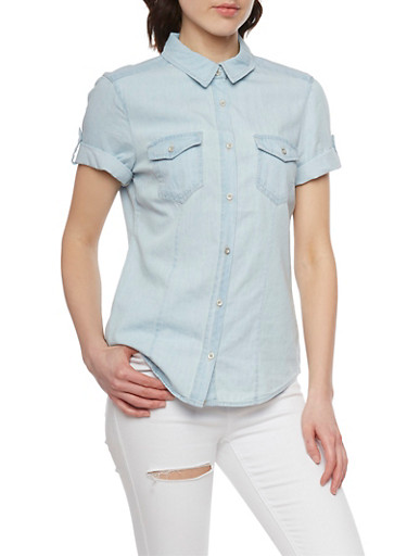 Denim Short Sleeve Button Front Top with Tabbed Sleeves,LIGHT WASH,large
