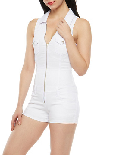 VIP Zip Up Denim Romper,WHITE,large
