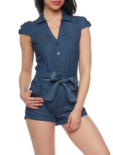 Highway Jeans Denim Cap Sleeve Belted Romper,DARK WASH,large