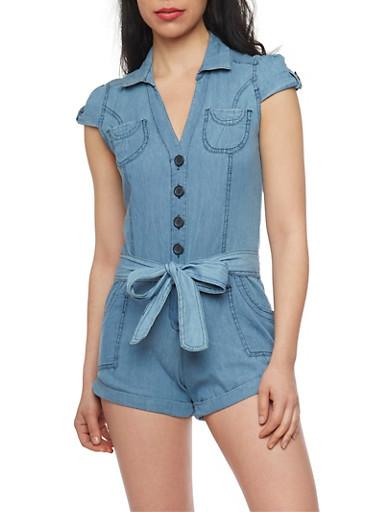 Highway Jeans Denim Romper with Sash Belt,MEDIUM WASH,large