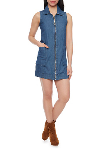 Denim Zip Front Mini Dress,DARK WASH,large