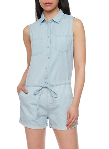 Sleeveless Chambray Romper with Drawstring Waist,LIGHT WASH,large