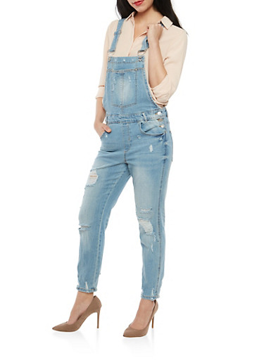 Almost Famous Distressed Overalls,LIGHT WASH,large