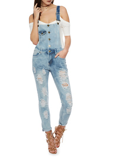 Cloud Wash Destroyed Denim Overalls,LIGHT WASH,large