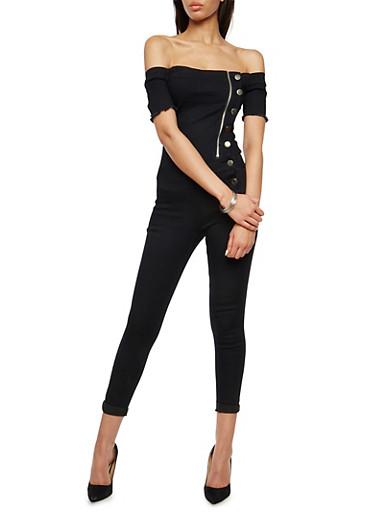 VIP Asymmetrical Off the Shoulder Jumpsuit,BLACK,large