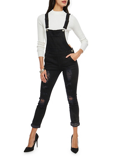 VIP Black Distressed Denim Overalls,BLACK,large
