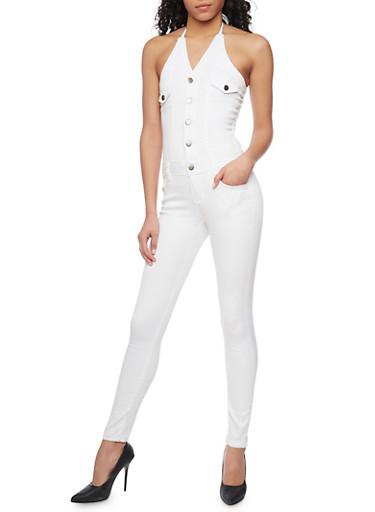 Denim Halter Neck Jumpsuit with Open Back,WHITE,large
