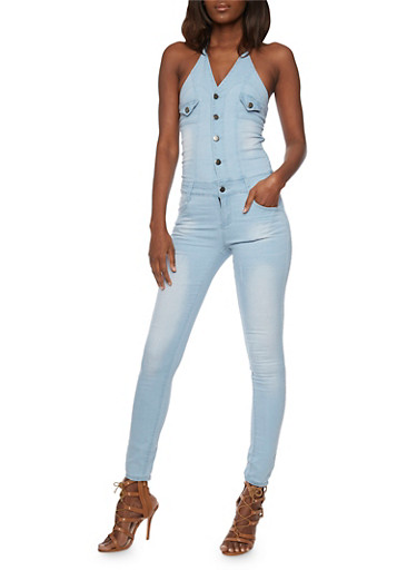 Denim Halter Neck Jumpsuit with Open Back,ICE WASH,large