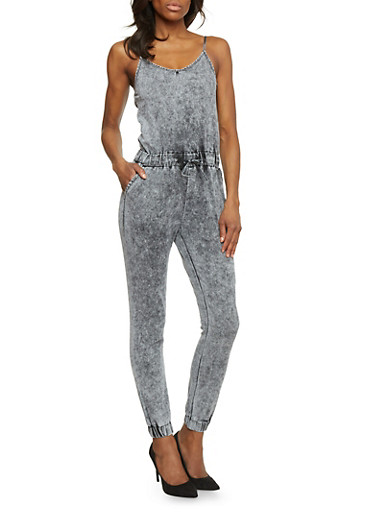 Denim Spaghetti Strap Zip Up Jumpsuit,BLACK ACID,large