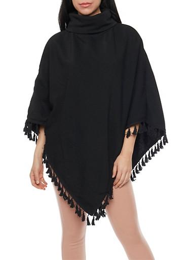 Fleece Turtleneck Poncho with Tassel Hem,BLACK,large