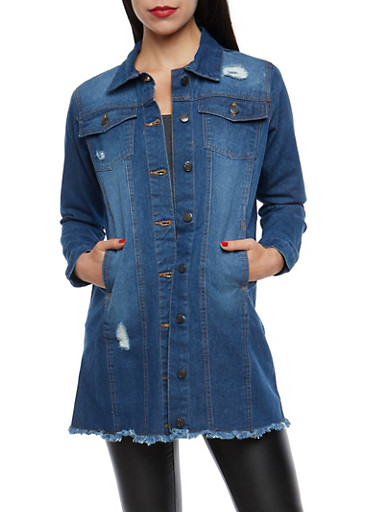 Long Frayed Denim Jacket,DENIM,large