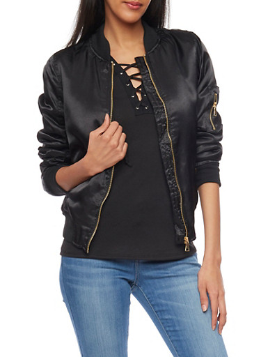 Satin Front Zip Bomber Jacket,BLACK,large