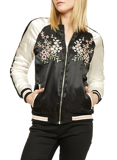 Embroidered Satin Bomber Jacket,BLACK,large