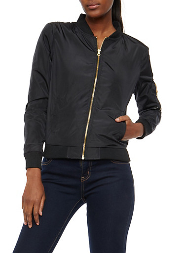 Zip Front Bomber Jacket,BLACK,large
