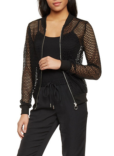 Perforated Zip Up Bomber Jacket,BLACK,large