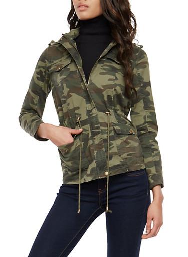 Camo Hooded Anorak Jacket,OLIVE,large