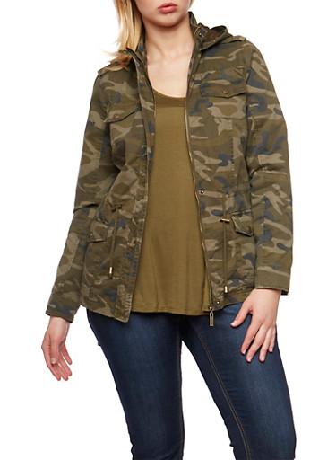 Camouflage Zip Up Twill Hooded Anorak Jacket,CAMEL,large