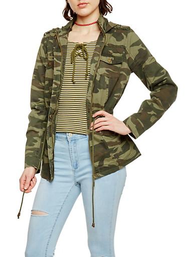 Camouflage Zip Up Twill Hooded Anorak Jacket,OLIVE,large