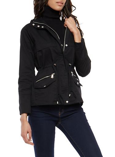 Hooded Twill Anorak Jacket,BLACK,large