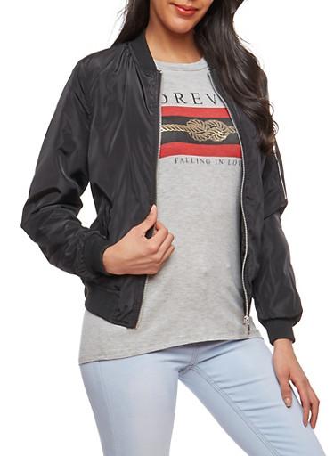 Lace Up Grommet Bomber Jacket,BLACK,large