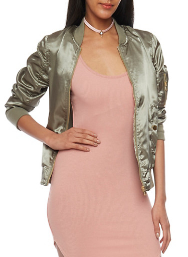 Ruched Satin Bomber Jacket,OLIVE,large