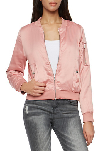 Satin Bomber Jacket,MAUVE,large