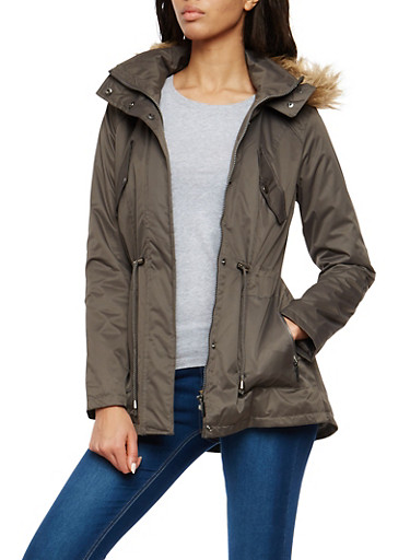 Faux Fur Lined Hooded Anorak Jacket,CHARCOAL,large