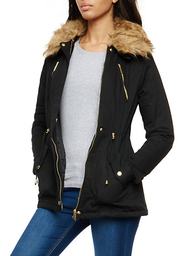 Twill Anorak Jacket with Fur Lined Collar,BLACK,large