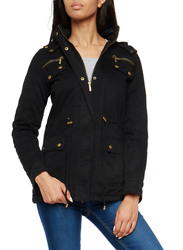 Twill Anorak Jacket with Sherpa Lined Hood,BLACK,large