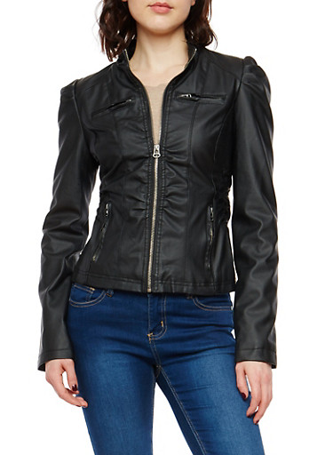 Ruched Side Faux Leather Jacket,BLACK,large