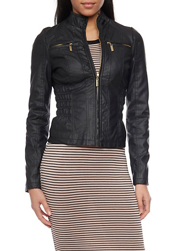 Zip Front Faux Leather Moto Jacket with Rouched Waist Detail,BLACK,large