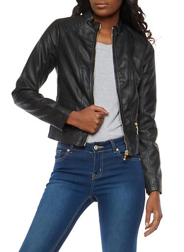 Stitch Shoulder Faux Leather Jacket,BLACK,large