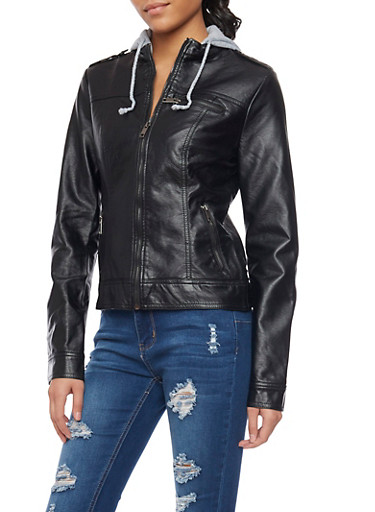 Leather Jacket with Contrast Hood,BLACK,large