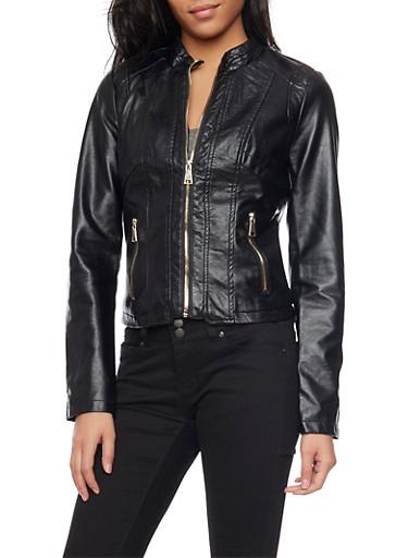 Paneled Faux Leather Jacket,BLACK,large