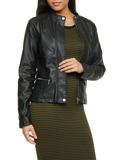 Faux Leather Moto Jacket with Zip Front,BLACK,large