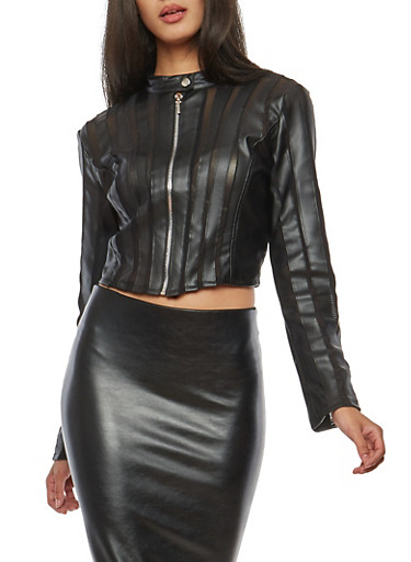 Crop Faux Leather Jacket with Mesh Detail,BLACK,large