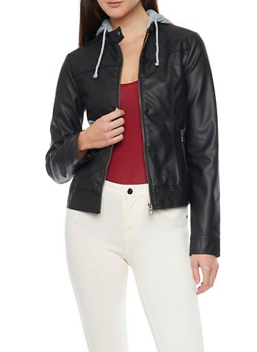 Faux Leather Moto Jacket with Fleece Hood,BLACK,large