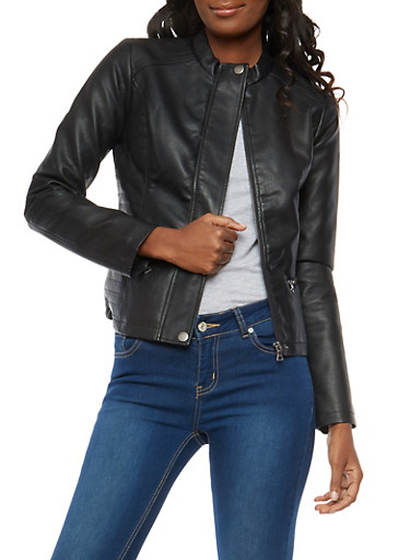 Side Stitch Faux Leather Jacket,BLACK,large