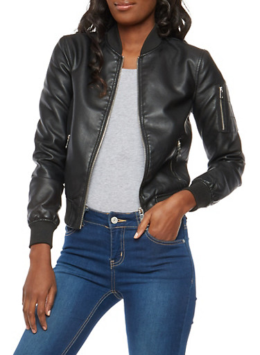 Rib Knit Trim Faux Leather Bomber Jacket,BLACK,large