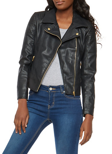 Faux Leather Moto Jacket with Stitching Detail,BLACK,large