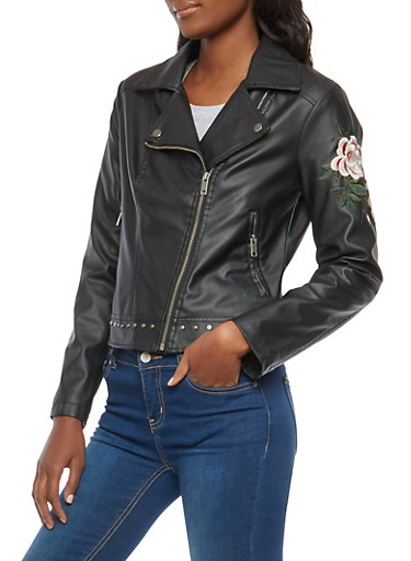 Floral Embroidered Faux Leather Moto Jacket,BLACK,large