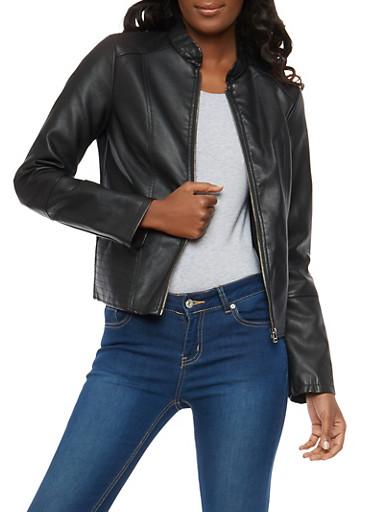 Stitch Detail Faux Leather Jacket,BLACK,large