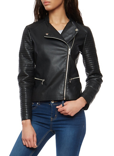 Faux Leather Moto Jacket with Stitching Details,BLACK,large