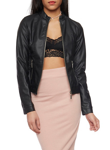 Faux Leather Smock Waist Moto Jacket,BLACK,large