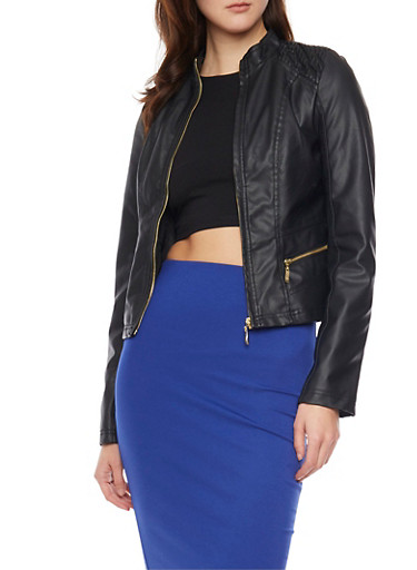 Faux Leather Zip Front Moto Jacket with Quilted Shoulder Panels,BLACK,large